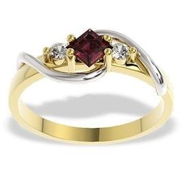 Pierścionek z żółtego i białego złota z rubinem i diamentami, lp-32zb - żółte i białe  rubin