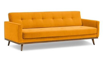 Sofa klematisar z funkcją spania welurowa 3-osobowa  welur bawełna 100 musztardowy