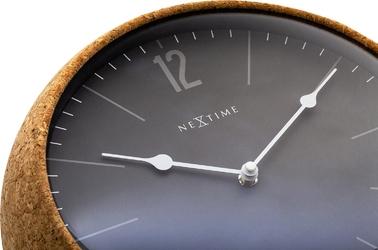 Zegar ścienny cork - obudowa z korka, szara tarcza nextime 30 cm 3509 gs