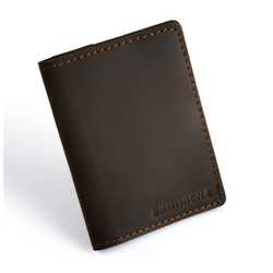 Brązowy cienki portfel ze skóry naturalnej z bilonem slim wallet brodrene sw04