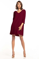 Luźna mini sukienka z kontrafałdą na plecach - burgundowa
