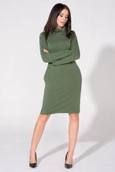 Sukienka do kolan z długim rękawem i kołnierzem-kominem zielona t147