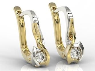 Kolczyki z żółtego i białego złota z brylantem lpk-2710zb - żółte i białe  diament