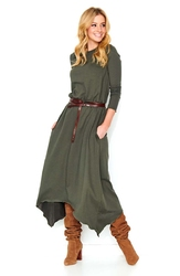 Khaki asymetryczna długa sukienka dzianinowa