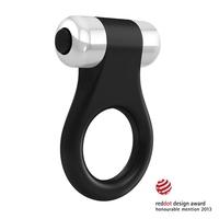 Wibrujący pierścień na penisa - ovo b1 vibrating ring  czarny