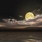 Obraz na płótnie canvas czteroczęściowy tetraptyk gwiaździste niebo i księżyc w pełni