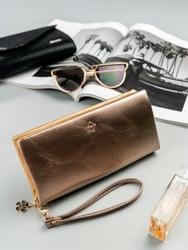 Duży portfel damski złoty milano design - złoty