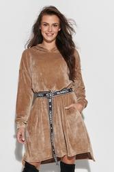 Rozkloszowana sukienka welurowa z logowanym paskiem - beżowa