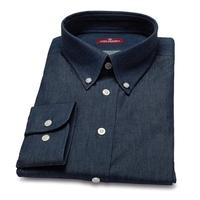 Jeansowa koszula męska van thorn z kołnierzem button down szyta na zamówienie 36
