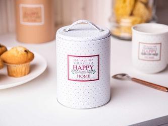 Puszka  pojemnik na kawę  herbatę  cukier  produkty sypkie z pokrywą i uchwytem okrągła altom design victoria home biała