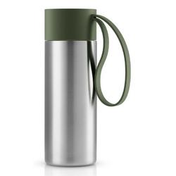 Eva solo - kubek termiczny to go cup 0,35l, troczek forest green - zielony || srebrny