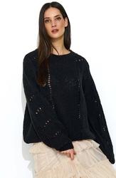 Czarny luźny sweter z ażurowym wzorem