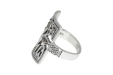 Srebrny pierścionek kwiat z markazytami