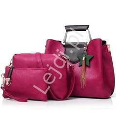 Zestaw torebek cimne wino, duża elegancka torebka z kopertówką i saszetką
