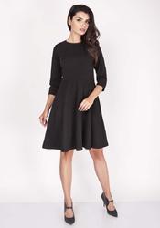 Czarna sukienka z szerokim dołem z rękawem 12
