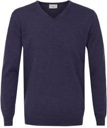 Sweter  pulower v-neck z wełny z merynosów w kolorze jasno fioletowym l