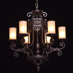 Żyrandol rustykalny, masywna lampa wisząca jak z kutego żelaza chiaro country 382011606
