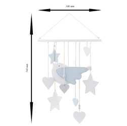 Zawieszka z gwiazdkami i Ptakiem niebieska Petit Cheri Grawer