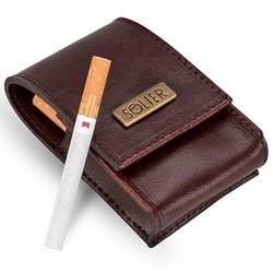 Skórzane męskie etui na papierosy sa14 standard bordowe - standard  bordowy