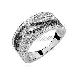 Srebrny pierścionek pr.925 cyrkonia biała i czarna