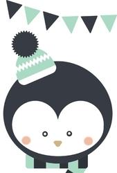Pingwinek białe tło - plakat wymiar do wyboru: 59,4x84,1 cm