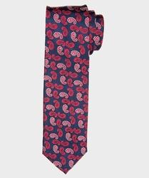 Granatowy krawat jedwabny w czerwony wzór paisley