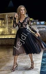 Zjawiskowa sukienka wieczorowa w kolorze czarnym z jasną podszewką rene emo