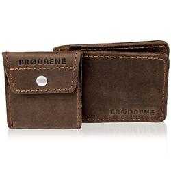 Skórzany zestaw portfel i bilonówka brodrene sw02 + cw02 ciemnobrązowy - c. brązowy