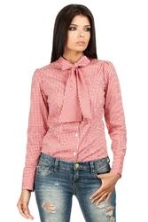 Koszula w czerwoną kratkę z wiązaną kokardą