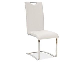 Krzesło z ekoskóry i metlu chromowanego - białe - 42 x 43 x 101 cm - b-790
