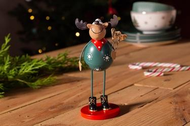 Ozdoba  dekoracja świąteczna  figurka metalowa dekoracyjna święta boże narodzenie altom design renifer na okrągłej podstawie 6  x 16 cm