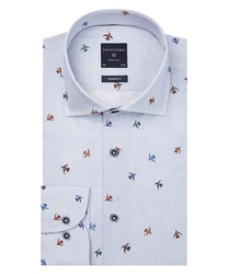 Niebieska koszula profuomo w ptasi wzór regular fit 45