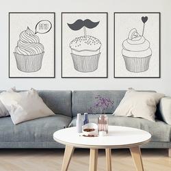Muffins design - komplet plakatów , wymiary - 40cm x 50cm 3 sztuki, kolor ramki - czarny