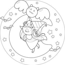 Fototapeta kolorowanki halloween latającą czarownicę z balonu w moolight