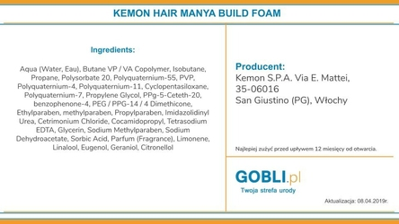 Kemon hair manya build foam, bardzo mocna pianka na objętość 250ml