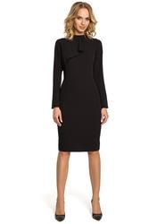 Elegancka sukienka z falbaną czarna m325