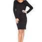 Czarna sukienka z długim rękawem wiązana w talii