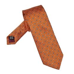 Elegancki pomarańczowy krawat van thorn w kropki