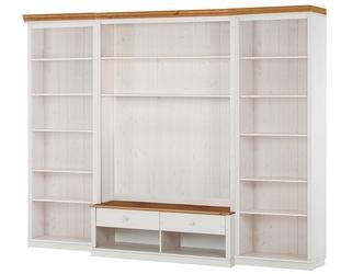 Potrójny regał sosnowy z szafką rtv i drabinką annabelle biały z cokołem w kolorze naturalnym  288x45x219 cm