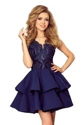 Granatowa rozkloszowana imprezowa sukienka z koronką