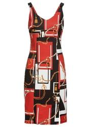 Sukienka z dżerseju z nadrukiem bonprix czerwono-czarny z nadrukiem