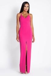 Fuksja elegancka maxi sukienka na cienkich ramiączkach