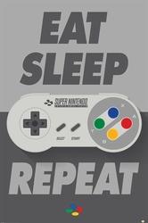 Nintendo Eat Sleep SNES Repeat - plakat