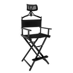 Krzesło do makijazu look aluminiowe z zagłówkiem czarne