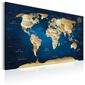 Obraz - mapa świata: granatowa głębia