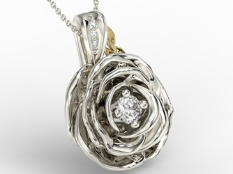 Wisiorek z białego i żółtego złota w kształcie róży z diamentami apw-95bz - białe i żółte  diament