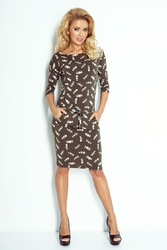 Khaki Midi Sukienka  Ściągana w Pasie Wzór - Ości