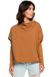 Karmelowa oversizowa bluza z dekoltem typu woda