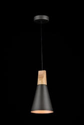 Smukła, czarna lampa wisząca do jadalni - mały stożek bicones maytoni modern p359-pl-140-c