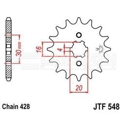 Zębatka przednia jt f548-14, 14z, rozmiar 428 2201332 yamaha xt 125